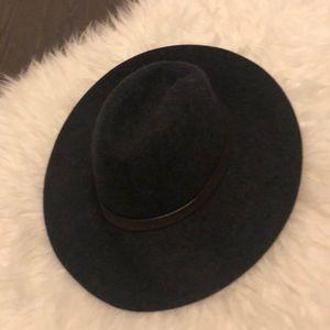 Jcrew hat s/m. Dark grey with brown leather trim